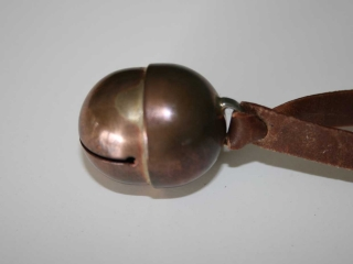 Hawk bell with standard roo-leather bewit